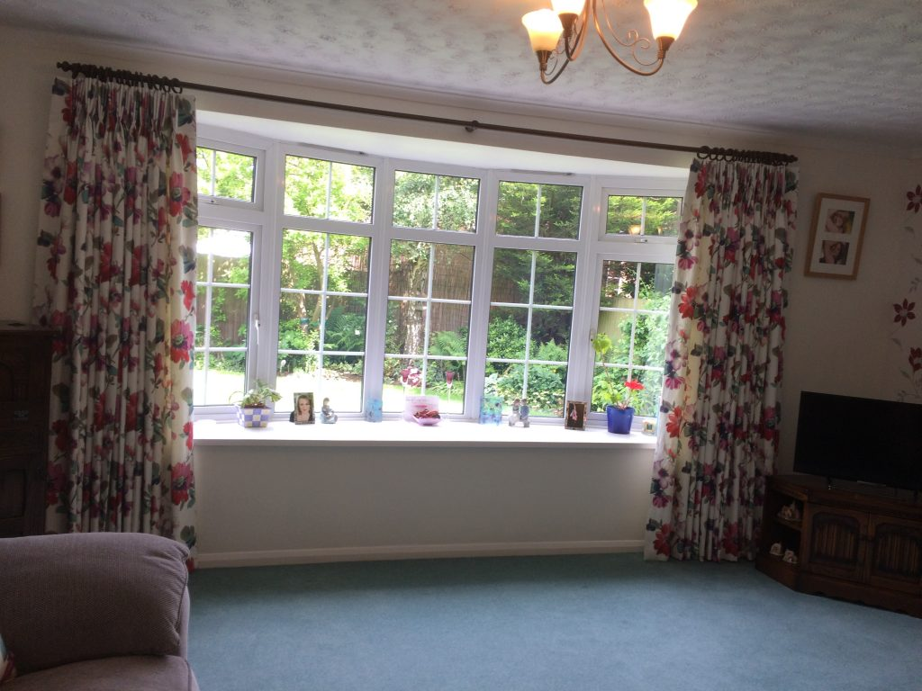 Bay window and curtains